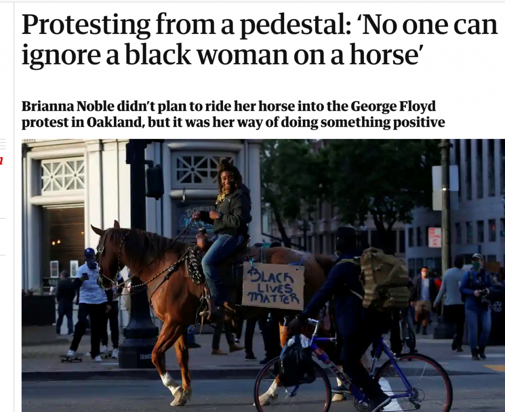 Guardian-Bericht über Brianna Noble auf Dapper Dan (Screenshot von https://www.theguardian.com/us-news/2020/jun/01/george-floyd-protester-oakland-horse, aufgerufen am 17.09.2020)